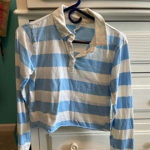 WOMENS MEDIUM CROPPED STRIPPED RUGBY LONG SLEEVE